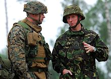 Rear Adm. Ian Corder, deputy commander, Joint Task Force BALTOPS, meets with U.S. Marine Corps Lt. Col. Joseph Cabell.jpg