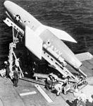 Regulus missile on launcher on USS Hancock (CVA-19) c1954.jpg