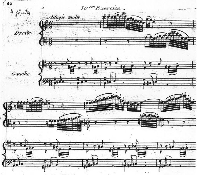 The final piano exercise of Reicha's Op. 30, featuring two staves of music for each hand, and four different clefs Reicha - Etudes ou exercices - No. 20, on four staves, opening.jpg