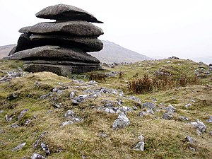 Ring cairn - The scarcely visible ring cairn at Showery Tor