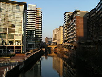 River Irwell - The River Irwell divides the cities of Salford (left) and Manchester.
