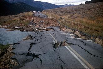 1959 Hebgen Lake earthquake - Road damage from the earthquake