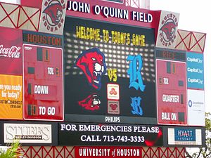 Houston–Rice rivalry - The scoreboard at Robertson Stadium before the 2007 Bayou Bucket game