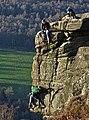 Rock climbing above Froggatt (geograph 6333975).jpg