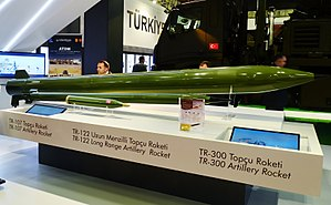 ROKETSAN - Artillery rockets TR-107, TR-122 and TR-300 at the stand of Roketsan during the IDEF 2015.