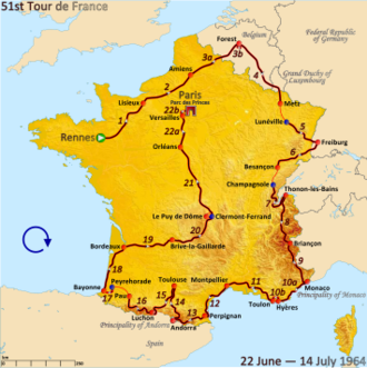 1964 Tour de France - Route of the 1964 Tour de France