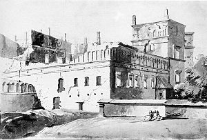 Palace of the Grand Dukes of Lithuania - The ruins of the palace, drawn in the late 18th century