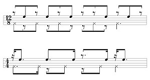 """Quinto (drum) - The fundamental quinto lock strokes (top line) are a displaced """"clave."""""""