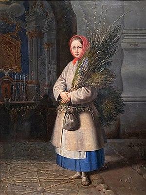 Kanuty Rusiecki - Lithuanian Girl with Palm Sunday Fronds (1847)