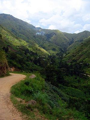 Rwenzururu - Road in Rwenzori region valley.