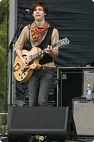 Panic! at the Disco - Former guitarist and vocalist Ryan Ross performing with the band in 2007. He was responsible for writing most of the music and lyrics until his departure in 2009.