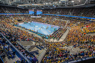 Handball - A handball game in progress at SAP Arena in Mannheim, Germany