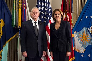 People's Party (Spain) - María Dolores de Cospedal with U.S. Defense Secretary James Mattis, 23 March 2017