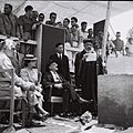 SEPHARDI CHIEF RABBI HARISHON LEZION MEIR UZIEL DELIVERING HIS BLESSINGS AT THE CORNERSTONE CEREMONY FOR THE WEIZMANN INSTITUTE IN REHOVOT WITH PROF. D671-029.jpg
