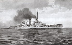 A large gray warship steams through calm seas; thick black smoke pours from two tall smoke stacks