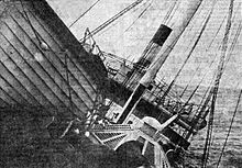 Vestris listing to starboard so badly that part of the upper deck was awash