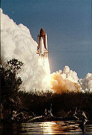 The launch of Shuttle Discovery on STS-41-D, its first mission.