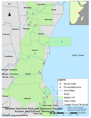 Saadani National Park - Saadani National Park Map and extent of former village lands now gazetted as park lands.