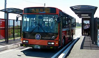 Kesennuma Line in Japan damaged in 2011 tsunami. JR proposed the line's conversion into a dedicated bus rapid transit (BRT) route, before the railway's full restoration. Saichi-stn-BRT03.jpg