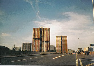 City of Salford - Salford tower blocks in 2001. Tower blocks were mostly built between the 1950s and 1970s.