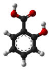 Baw-an-stick model o salicylic acid