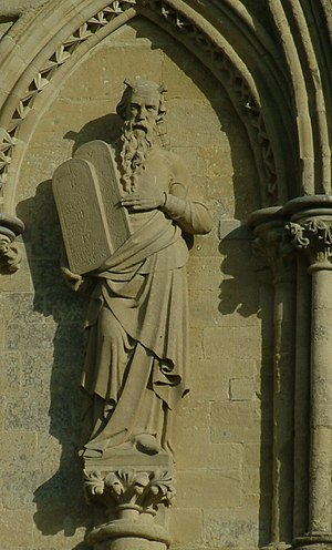 Statuary of the West Front of Salisbury Cathedral - Moses
