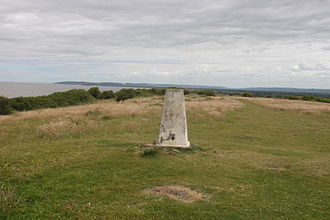 Sand Point and Middle Hope - The triangulation station and site of the bowl barrow and disc barrow