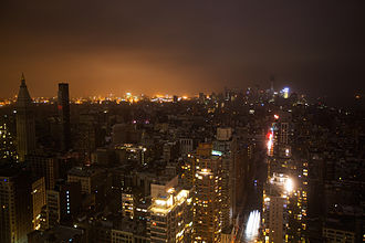 2012 in the United States - October 29: Hurricane Sandy: Large portions of the Manhattan borough of New York City were without electricity