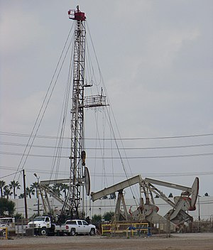 Santa Fe Springs, California - Oil production continues at Santa Fe Springs. Here a well is being reworked, 2012)