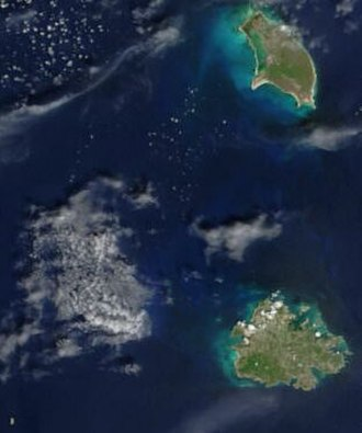 Geography of Antigua and Barbuda - A satellite image of Antigua and Barbuda.
