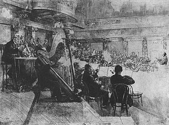 Vienna Philharmonic - Vienna Philharmonic at the rehearsal, Felix Weingartner is conducting. Engraving by Ferdinand Schmutzer (1926)