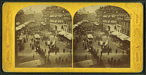 Crawford House (Boston, Massachusetts) - Image: Scollay's square, parade on Decoration Day, from Robert N. Dennis collection of stereoscopic views