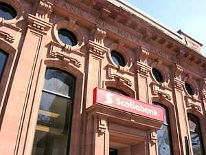 English: View of a ScotiaBank facade in Amhers...