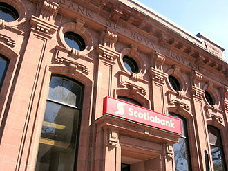 Banking in Canada - View of a Scotiabank facade in Amherst, Nova Scotia. This structure was erected in 1907.