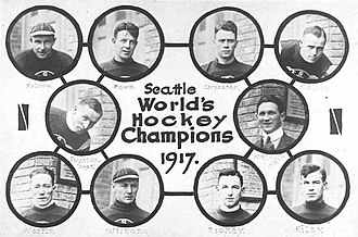 Seattle Metropolitans - Seattle Metropolitans Stanley Cup winning team in 1917. Top row: Harry Holmes, Bobby Rowe, Eddie Carpenter, Jack Walker; Middle: Frank Foyston, Pete Muldoon, mgr.; Bottom: Bernie Morris, Cully Wilson, Roy Rickey, Jim Riley.
