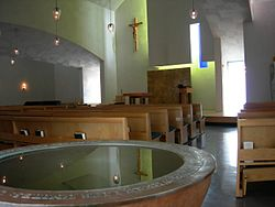 Interior, Chapel of St. Ignatius. Architect: Steven Holl.