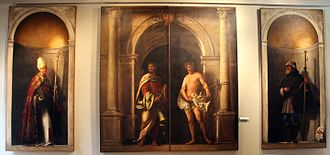 Sebastiano del Piombo - Organ-shutters of San Bartolomeo, Venice, now displayed with outside pair at centre.