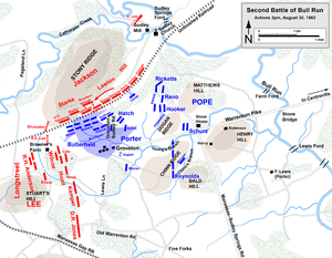 "Fitz John Porter - August 30, 3:00; Porter turns and attacks, Longstreet in position to attack and ""rolls up"" Pope's army"