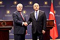 Secretary TIllerson and Turkish Foreign Minister Cavusoglu Shake Hands After Their Joint Press Conference in Ankara (33355840420).jpg