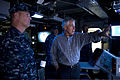 Secretary of Defense Chuck Hagel, right, speaks with U.S. Navy Capt. Dale Maxey, the commanding officer of the afloat forward staging base USS Ponce (AFSB(I) 15), during a tour of the ship in Bahrain Dec. 6 131206-D-BW835-105.jpg