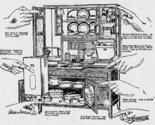 Old drawing of a stand-alone kitchen cabinet with hands pointing to features