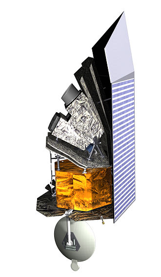 Sentinel Space Telescope - A diagram of Sentinel, with the heat reflector to its right side, and the supercooled infrared telescope positioned over its gold-foil covered spacecraft bus