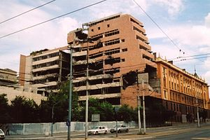 NATO bombing of Yugoslavia - Yugoslav Ministry of Defence building damaged during NATO bombing