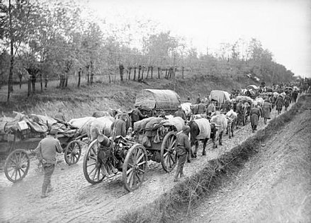 Great Serbian Retreat in 1915; Serbia lost about 850,000 people during the war, a quarter of its pre-war population. Serbian retreat WWI.jpg