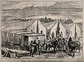Serbo-Bulgarian War; field hospital and ambulances waiting f Wellcome V0015500.jpg