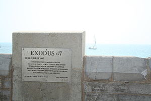 SS Exodus - Commemorative plaque at Exodus 1947 launch site in Sète, France.