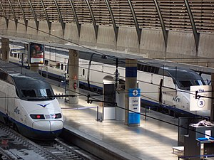 Madrid–Seville high-speed rail line - AVEs in Seville's Santa Justa station.