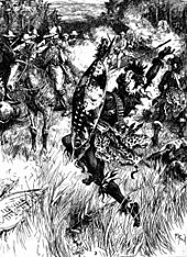 A black-and-white sketch depicting a southern African battle fought amidst long grass in a thick wood. The image focuses on two figures in the foreground: a white soldier on horseback (on the left) and a black warrior on foot (on the right), the white man has apparently just fired his rifle at the warrior, who is thrown back in his stride by the shot, his spear falling from his right hand. More soldiers and warriors can be seen in the background.