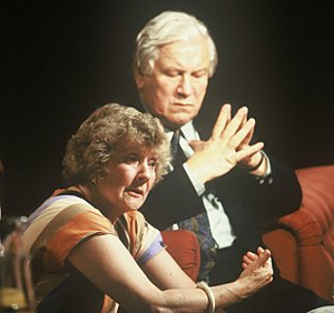 Shirley Williams - Sitting beside Peter Ustinov during an episode of the late-night TV discussion programme After Dark in 1989.