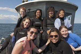 Shoals Marine Laboratory - Students aboard the R/V John B. Heiser as part of SML's Underwater Research diving course